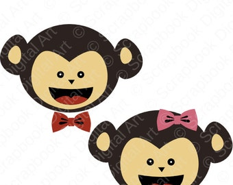 Monkey Clipart, Monkey Clip Art, Cute adorable cuddly monkey! Mono, Monito, Jungle Animals, Zoo Animal