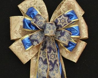Gold Blue Star of David Bow Hanukkah Decorations Chanukah Bow