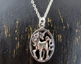 Unicorn necklace, sterling silver unicorn necklace, Unicorn pendant, fantasy necklace, mythical creature