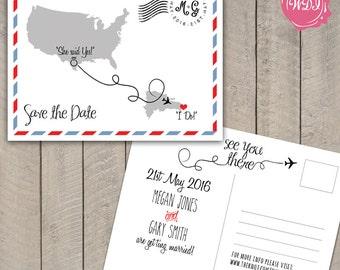 Destination Wedding Save the Date Postcard - Travel Theme - Custom - Printable - DIY
