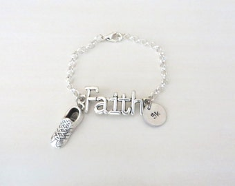 Faith Running Sneaker 5k 10k Marathon Half Marathon Charm Bracelet You Select Bracelet Length