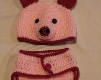 Piglet Beanie and Diaper Cover - Baby Crochet