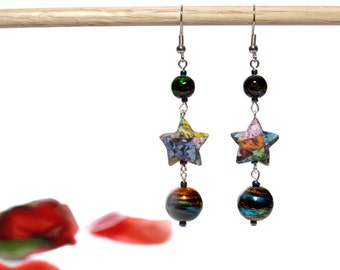 Origami Star Earrings, Handmade Jewelry, Handmade Earrings, Paper Earrings, Unique Gift, Shiny Shimmery Multicolor Multi-color iridescent