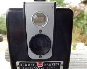 Vintage Brownie Hawkeye Camera Flash Model Black Bakelite 1955