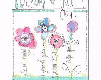 Christian art print - Children's artwork - Girls wall hanging - Bible painting - Word art - Personalized art - Flower art - Tween art