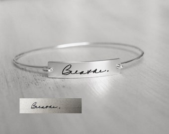 Actual Handwriting Bracelet - Personalized Signature Bracelet - Memorial Jewelry - Sympathy Gift ...