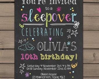 Sleepover Party Invitation Birthday invitation sleepover Chalkboard neon Teen birthday Girl birthday pajamas Digital Printable ANY AGE