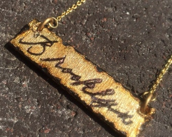 "Cursive ""Brooklyn"" necklace by BurnedinBrooklyn Handcrafted Wooden Jewelry"