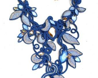 Neverland NECKLACE - OOAK SOUTACHE necklace