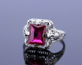 14K White Gold Ring with Emerald Cut Synthetic Ruby Center