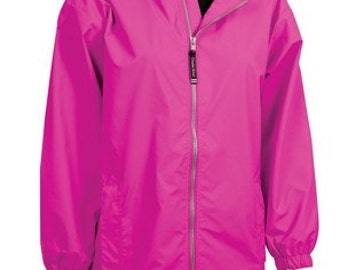 Charles River Girl's Hot Pink Raincoat by Charles River with FREE personalized embroidered monogram - Girl's Size Large 14/16