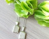 Sterling Silver Locket, Necklace, Etched Locket, Photo Locket, Rectangle Locket, Emerald Cut, Emerald Shape
