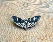 Laser Etched and Painted Death's Head Hawk Moth Brooch/Pin