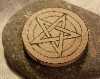 Small Thick Birch Pentacle Woodburned Travel Size Pentagram Disk, Wicca Pagan Magick Ritual Tool