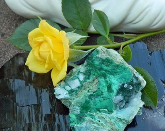 Druzy Quartz with Malachite Specimen