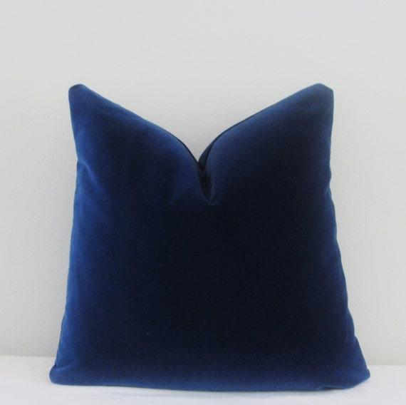 Navy Velvet Pillow Cover // Navy Blue Cotton Velvet 18x18