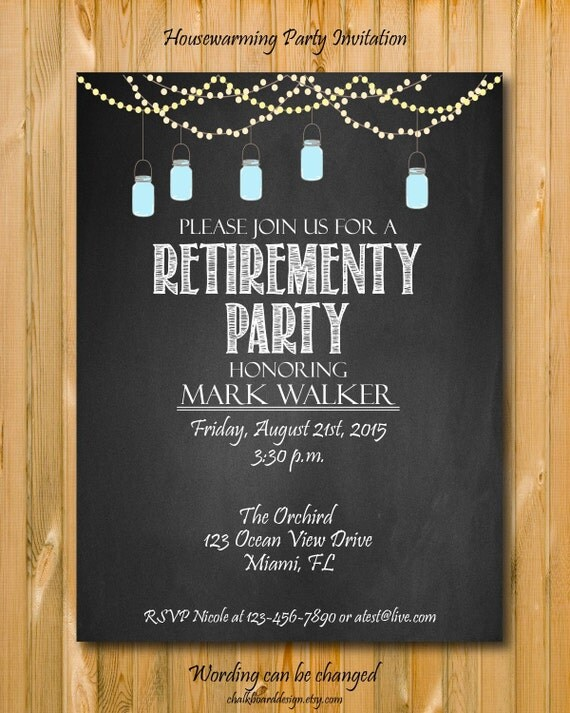 Printable Retirement Invitation Custom Invite Chalkboard
