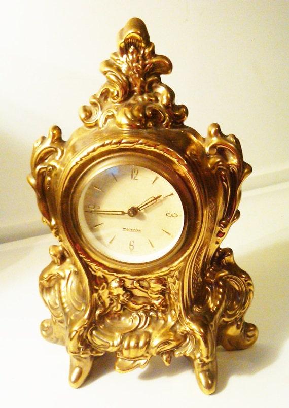 Antique Mercedes Brass Mantle Clock West Germany Regency
