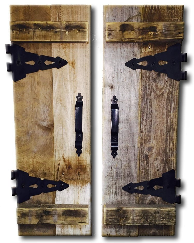 Barn wood rustic decorative shutter set of 2 with hinges for Barnwood decor