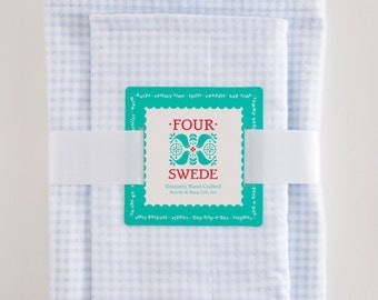 Blue Gingham Baby Blanket and Burp Cloth | Baby Blanket Set | Spring Baby Shower | New Baby Gifts | Baby Gifts Handmade | Baby Boy Gift Set