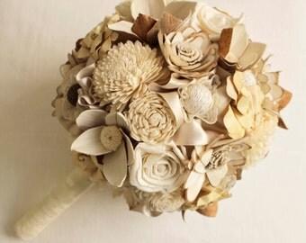 """Bridal Bouquet """"Cream/Brown"""", Wedding Cream/ Brown Bouquet, Sola flowers"""