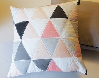 Quilted Throw Pillow - Hamptons Triangles - coral, gray, black