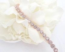 Rose Gold Bridal bracelet, Crystal Wedding bracelet, Bridal jewelry, Tennis Bracelet, Halo bracelet, Rose Gold jewelry, Simple bracelet