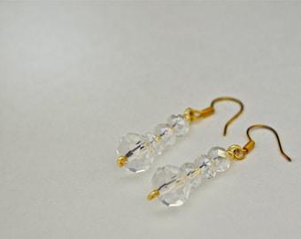Crystal & Gold Dangle Earrings