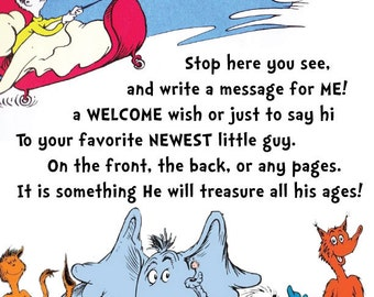 Dr. Seuss Baby Shower Guest Book Sign (digital copy- Boy, Girl, & Neutral)