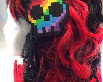 Hair Clip - Rainbow Skull Hair Clip, Rainbow Hair Clip, Skull Pin