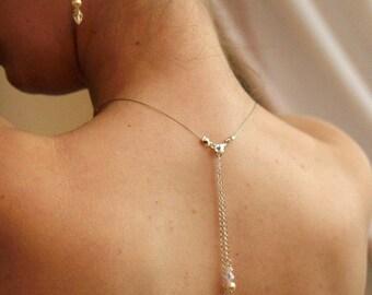 Bijoux mariage de dos, deux pendants en chaine et cristal - Bridal backdrop necklace crystal