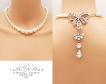Backdrop Necklace Wedding Jewelry Single Strand Swarovski Pearl Necklace Bridal Necklace Bridesmaids Necklace Rhinestone Bow Necklace - MEI