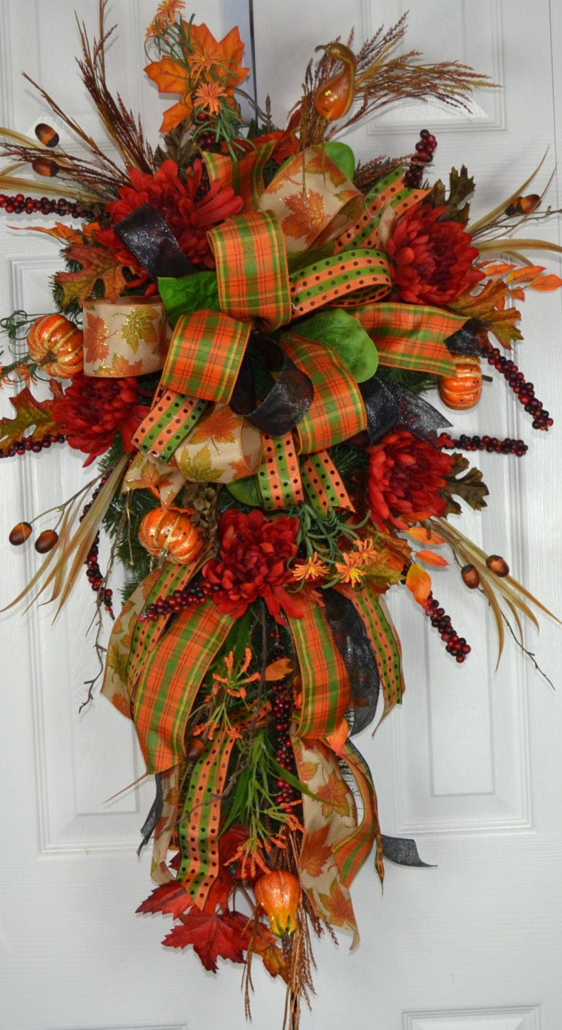 Autumn Fall Splendor Swag Autumn Wreath Fall Door Wreath
