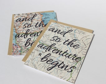 Vintage Map Greeting Card - And So The Adventure Begins, Motivational Card, Travel Card, Love Card, Globe Card, Adventure Card, Blank