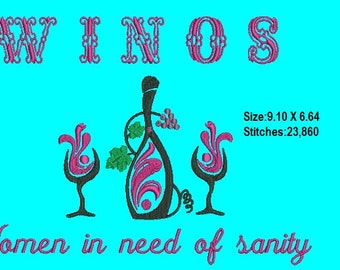 W I N O S-Women in Need of Sanity Machine Embroidery Design