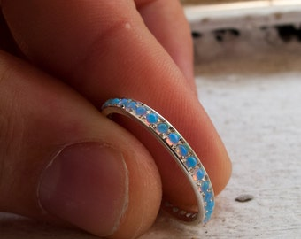 White Gold Opal Eternity Ring