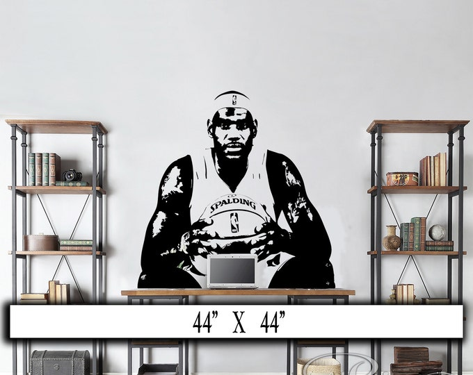 Lebron James Decal - Basketball decal - Basketball decor - Basketball sticker - Basketball Wall art - bedroom decor - man cave decor sports