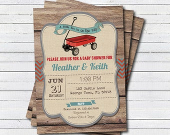 Rustic retro wagon baby boy shower invitation. Wood, Vintage toy red wagon couple baby shower, coed baby shower printable invite  B139