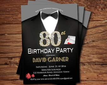 Casino 80th birthday invitation. Adult man birthday party invitation. Poker game card. Suit, black tie gala. Printable digital invite AB057