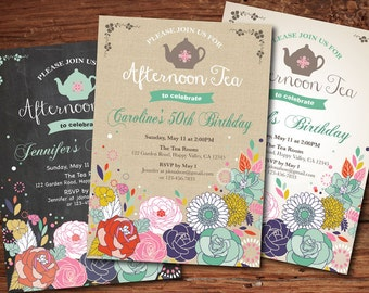 Woman birthday tea party invitation. Shabby chic afternoon tea, high tea. Lady 30th 40th 50th 60th 70th 80th 90th birthday invitation. AB134