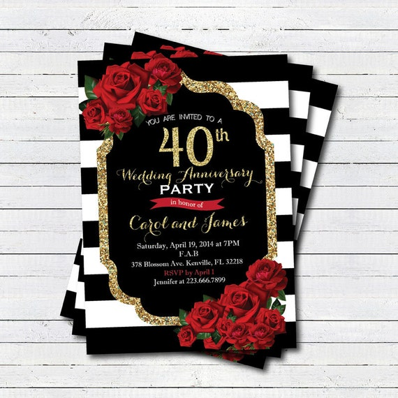 40th wedding anniversary invitation Red rose black and white – Wedding Invitations Red Black and White