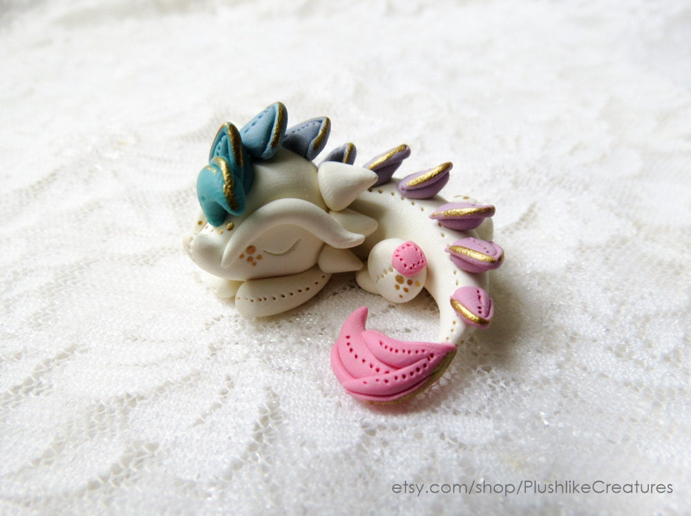 Tiny Dragon Sculpture / Cute Dragon Polymer Clay Figurine
