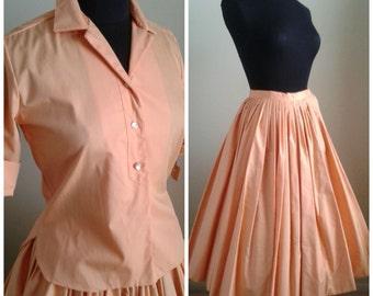 Vintage Cotton 50s Shirt & Skirt/2 Pc. Set/Top/Full Skirt/Orange~Peach/Deadstock/New look/Rockabilly/Pinup Girl/Sz Sm/Swing Dance