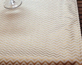 Gold table runners, fabric, gold Metallic, gold and cream chevron cotton , mini chevron, table runners, all occasion, matching napkins
