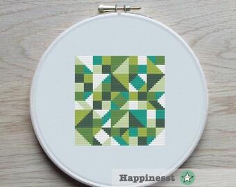 modern cross stitch pattern, geometric blocks, PDF pattern ** instant download**