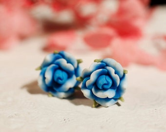 Gradient Blue Rose Stud Gold Plated Earrings,Bridesmaid gift, Polymer clay flower earring,polymer clay jewelry