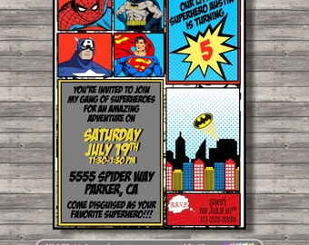 Spiderman Batman Captain America Superman Birthday Party Invitation, Comic Superhero, Marvel Custom Printable Invite
