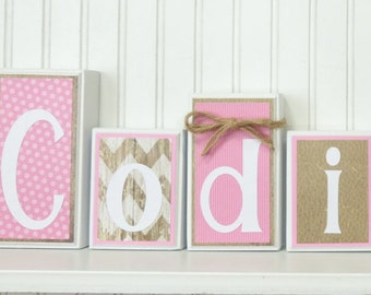 Custom Name Block Letters, Little Cowgirl, Routed Edge, Country, Girl Bedroom Decor, Wood Blocks, Pink Brown Cowgirl Name Block Letters