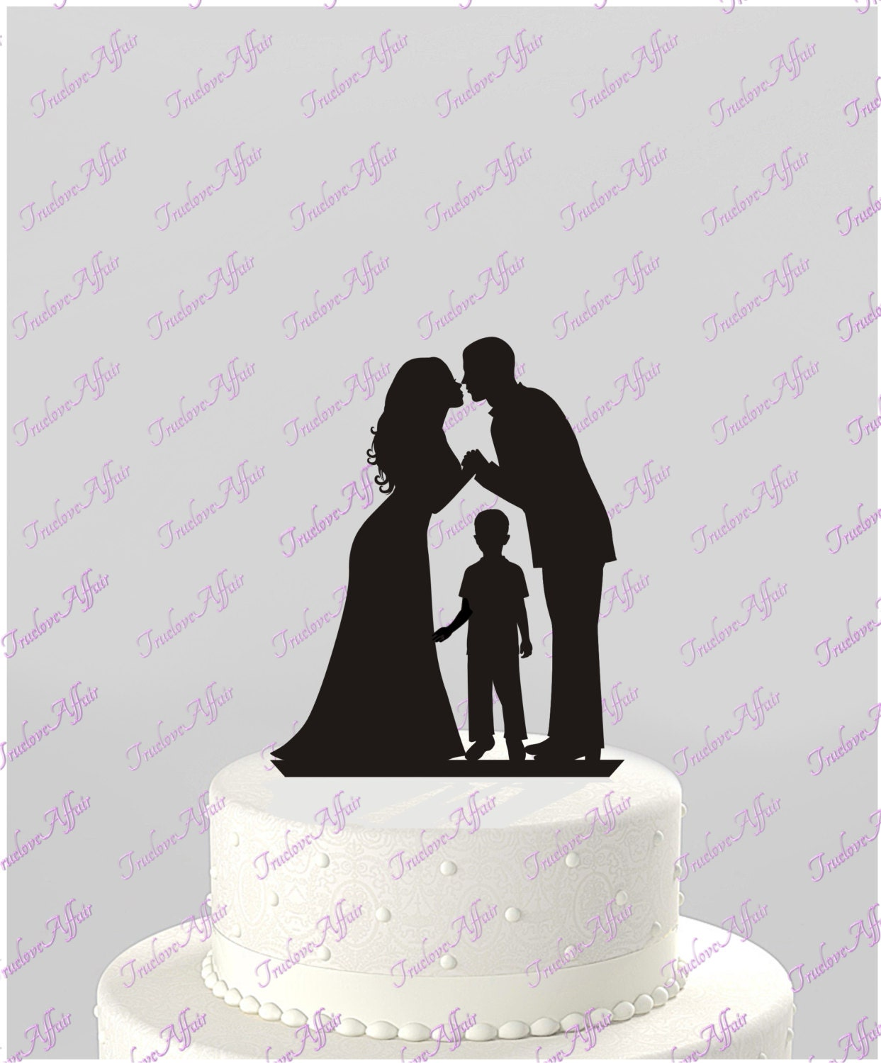 Wedding Cake Topper Silhouette Groom and Bride with older Boy