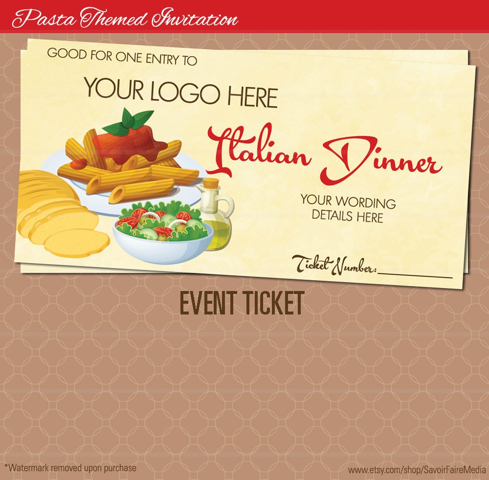 Pasta Dinner Event Ticket Spaghetti Italian Night Dinner – Dinner Tickets Template